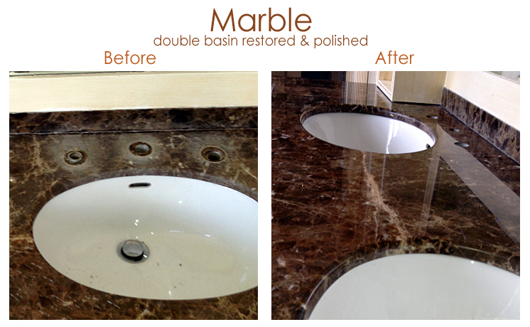 Marble double basin restored & polished